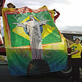 Daves banner going on the lorry at the Dumfries Guid Nychburris Parade 2011